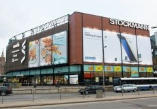 Supermarket banner with installation and light