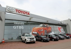 Toyota large format adhesive film advertising with light