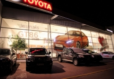 Toyota large format adhesive film advertising with LED light in headlamps